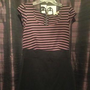 Very cute purple and black stripes w black skirt